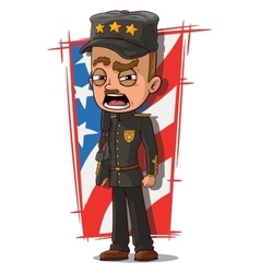 Cartoon shouting general in black uniform vector