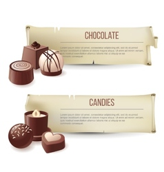 Chocolate candies banners vector