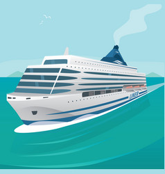 Cruise liner cuts through the waves in open sea vector