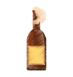 drawing beer bottle drink foam vector image vector image