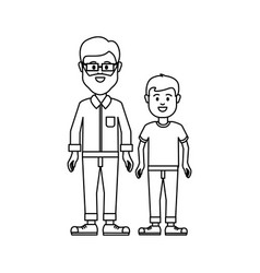 Figure man with glasses and his son icon vector