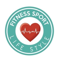 Fitness sport life style heart rate badge design vector