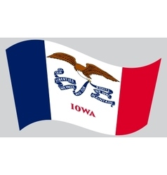 Flag of iowa waving on gray background vector