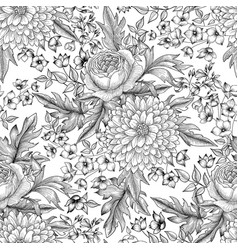 Flower bouquet seamless pattern floral sketch vector