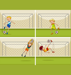 Four football scenes with goalkeeper at goal vector
