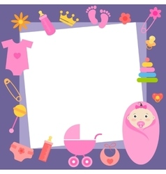 Frame with baby girl elements vector