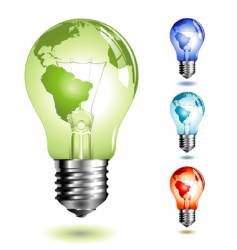 light bulb with worldmap vector image