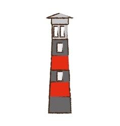 lighthouse building sea color sketch vector image