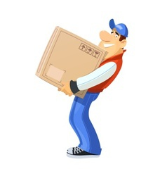 Loader with box Delivery vector image vector image