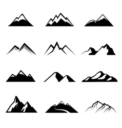 Mountains black icons vector