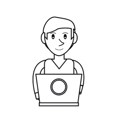 pictogram young man working laptop design vector image