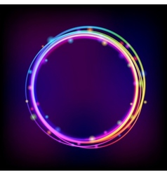 Rainbow glowing circle frame with sparkles vector image vector image