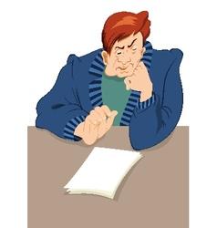 Retro hipster man reading newspaper vector