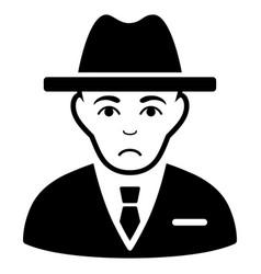 Sad agent black icon vector