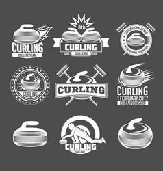 Set of vintage curling labels and design elements vector