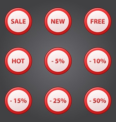 Shopping collection of sale discount red icons vector