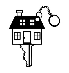 silhouette key monochrome with shape house vector image vector image