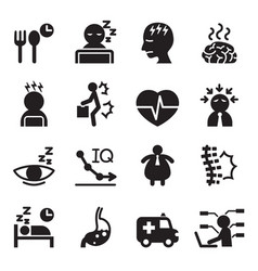 Silhouette office syndrome icons set vector