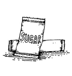 sugar in packaging hand drawing vector image vector image