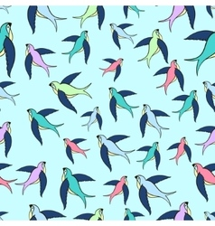 Swallow flying seamless pattern vector