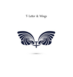 T letter sign and angel wings monogram wing logo vector