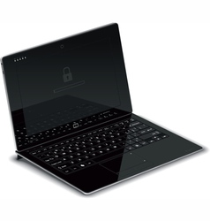 Tablet left side view with keyboard dock vector