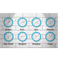 time zone wall clocks vector image