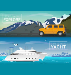 travel by sea and land yacht in the bay of vector image