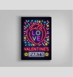 valentines day invitation to a party postcard vector image vector image