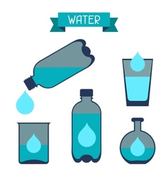 Water storage capacity icons in flat design style vector