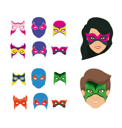 white background set ccollection mask of super vector image