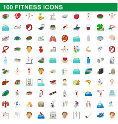 100 fitness icons set cartoon style vector