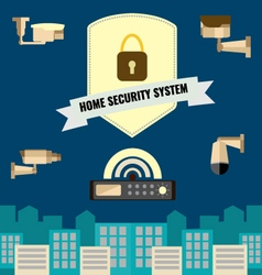 Home security cctv cam system flat design set vector