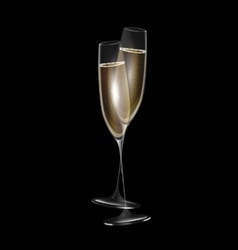 dark and two glasses of champagne vector image