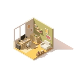 Isometric low poly room cutaway icon vector