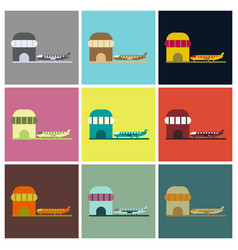 Set of icons in flat design plane at airport vector