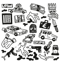 Crime - doodles vector