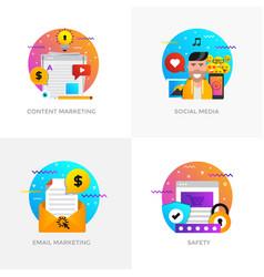 Flat designed concepts - content marketing social vector