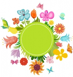 Flower card vector