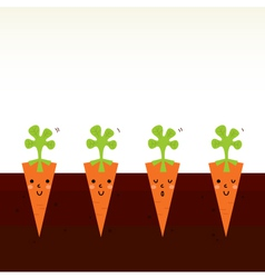 Cute beautiful cartoon carrot characters in row vector