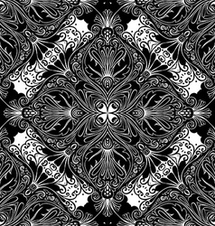 Seamless vintage black and white lace pattern vector