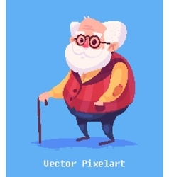 Funny old man character isolated vector