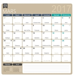 French calendar 2017 vector
