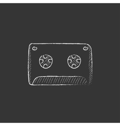 Cassette tape drawn in chalk icon vector