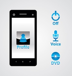 Mobile phone with icons vector