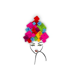 Abstract hairstyle with colorful boxes vector