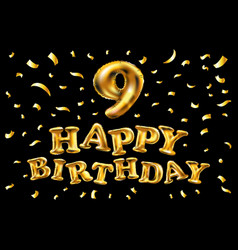 birthday celebration number 9 candle with gold vector image