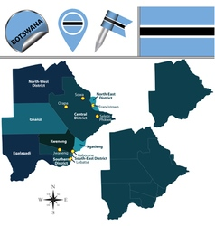 Botswana map with named divisions vector image vector image