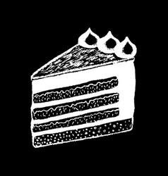 Cake piece white chalk on black chalkboard vector