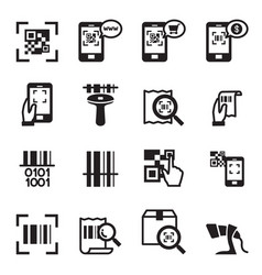 Check code barcode qr code reader icons set vector